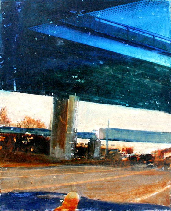 Buddha Bridge Blue 9in x 12in oil on panel